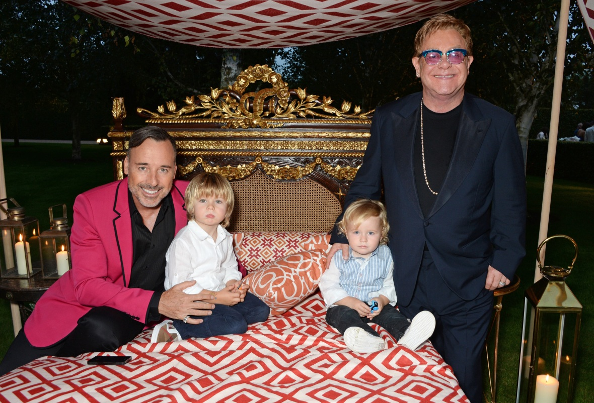 elton john & david furnish w/ their kids