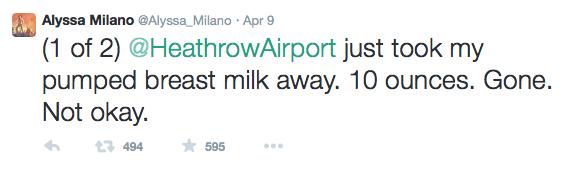 alyssa milano twitter breast milk heathrow airport