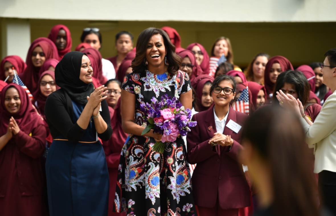 michelle obama at mulberry school for girls