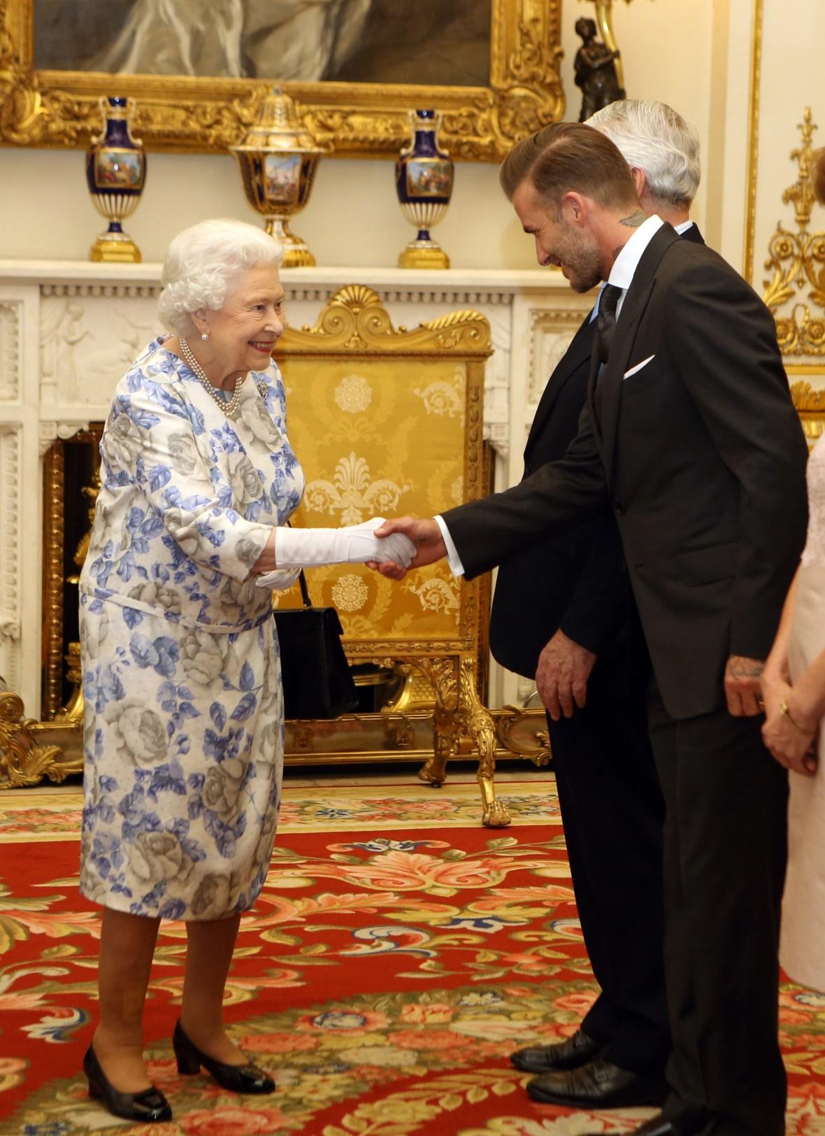 david beckham queen elizabeth getty images