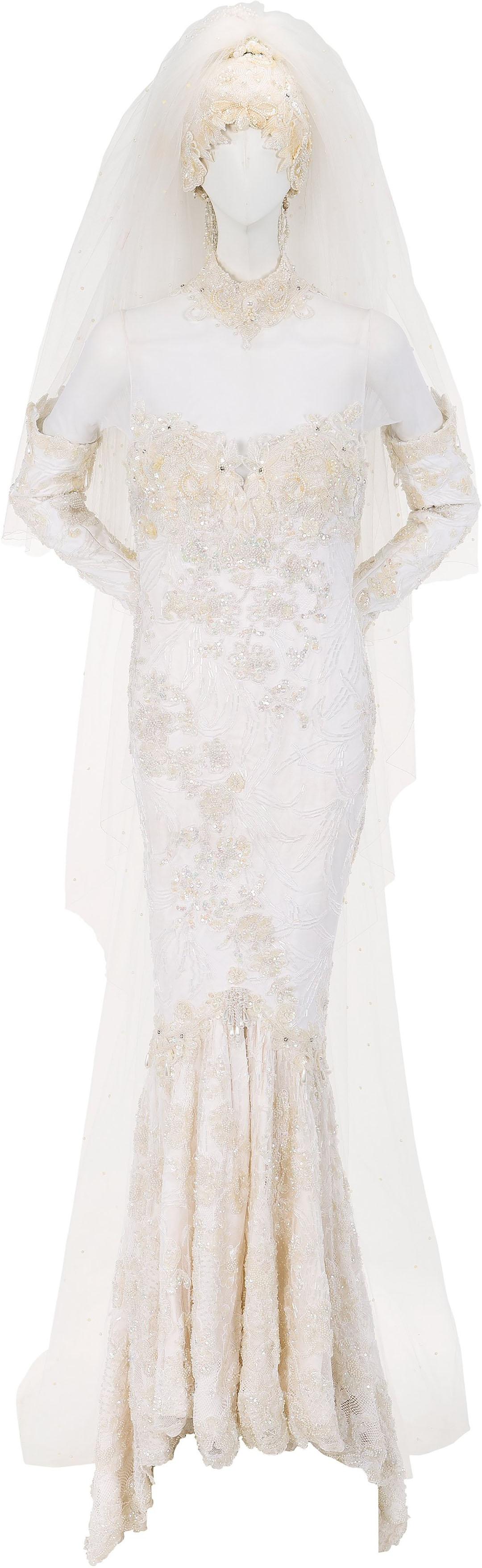 whitney houston wedding dress splash