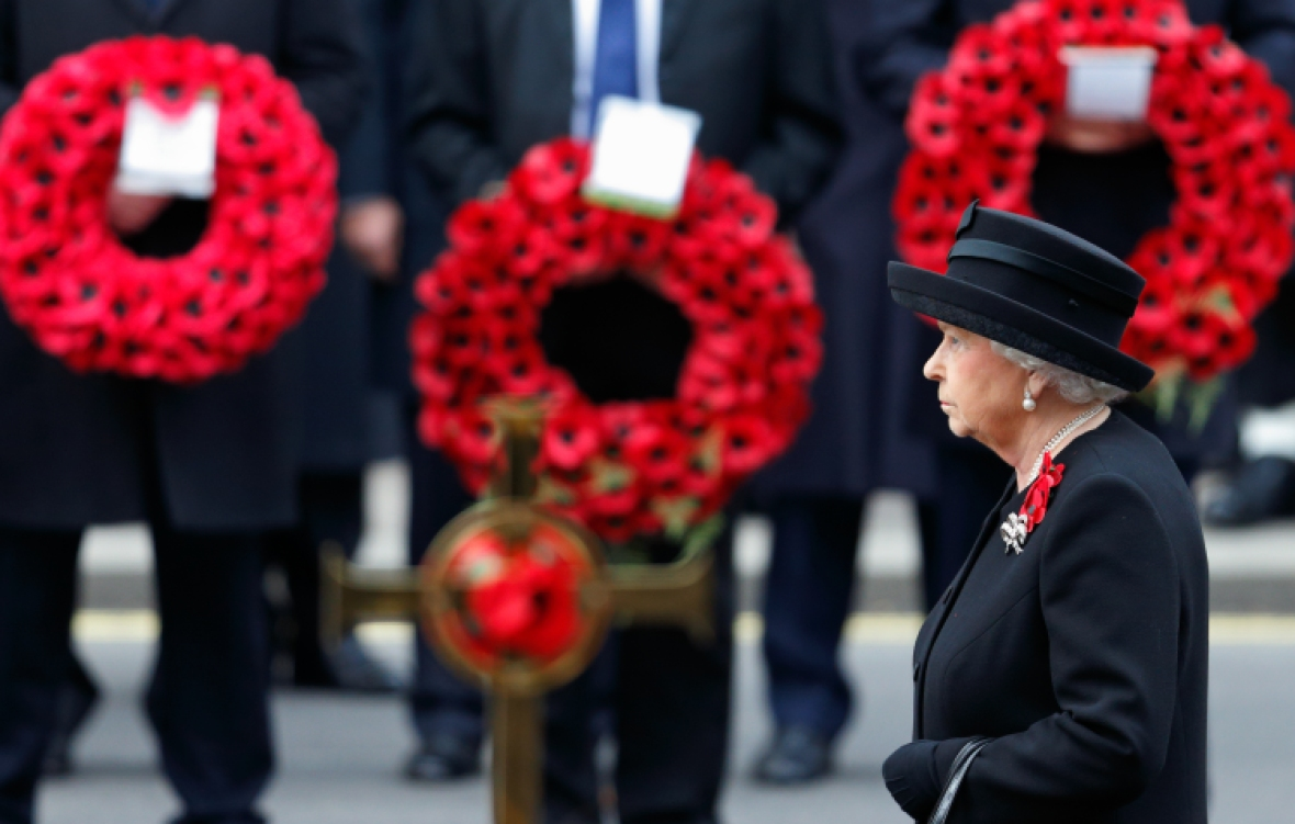 the queen cenotaph on remembrance getty images