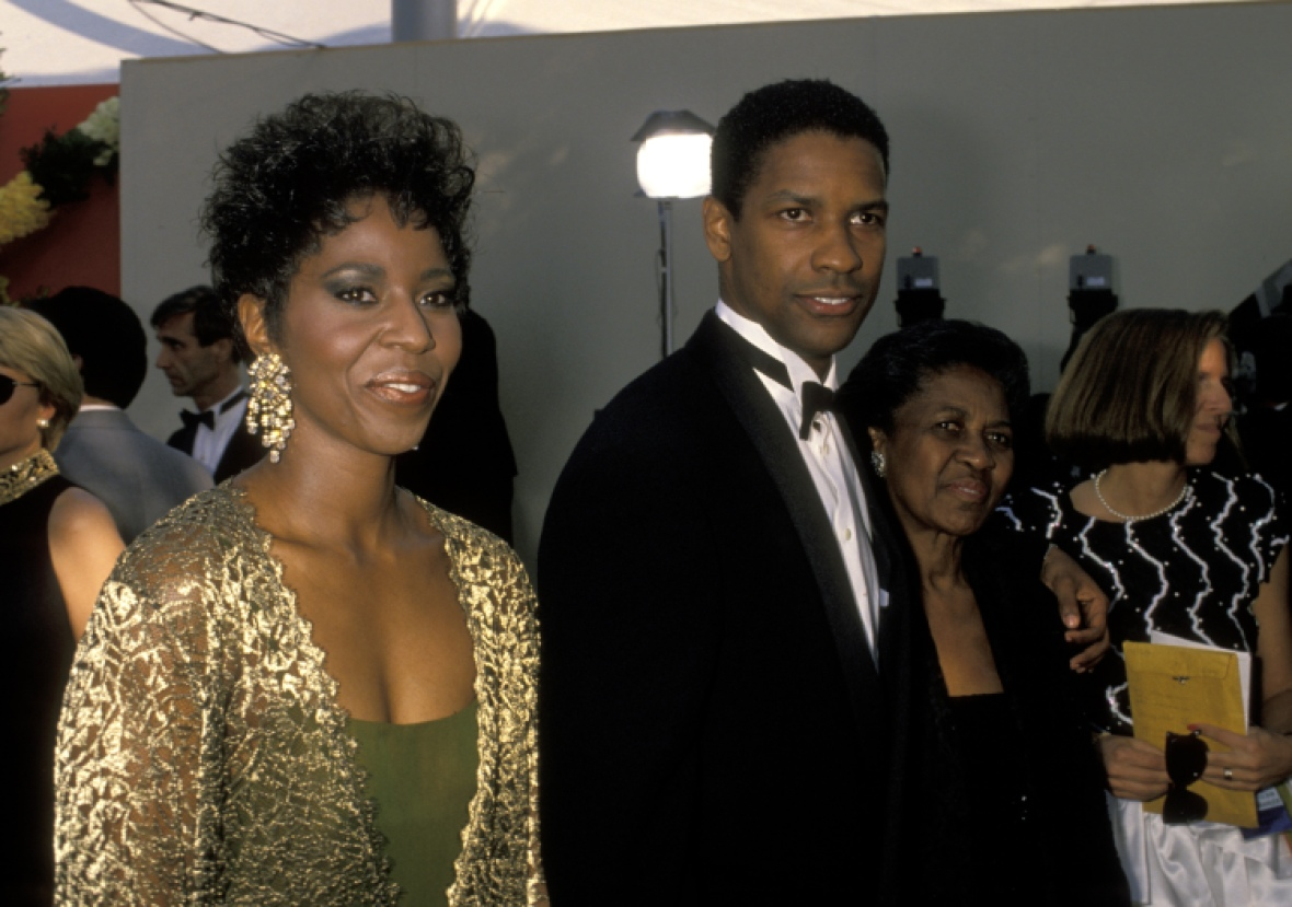 denzel washington, wife, and mother getty