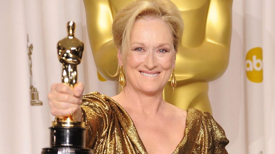 Meryl Streep with Oscar statue