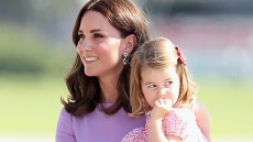 kate-middleton-purple-dress-princess-charlotte-pink-dress