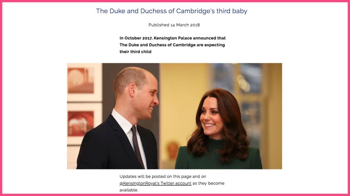 royal baby website r/r