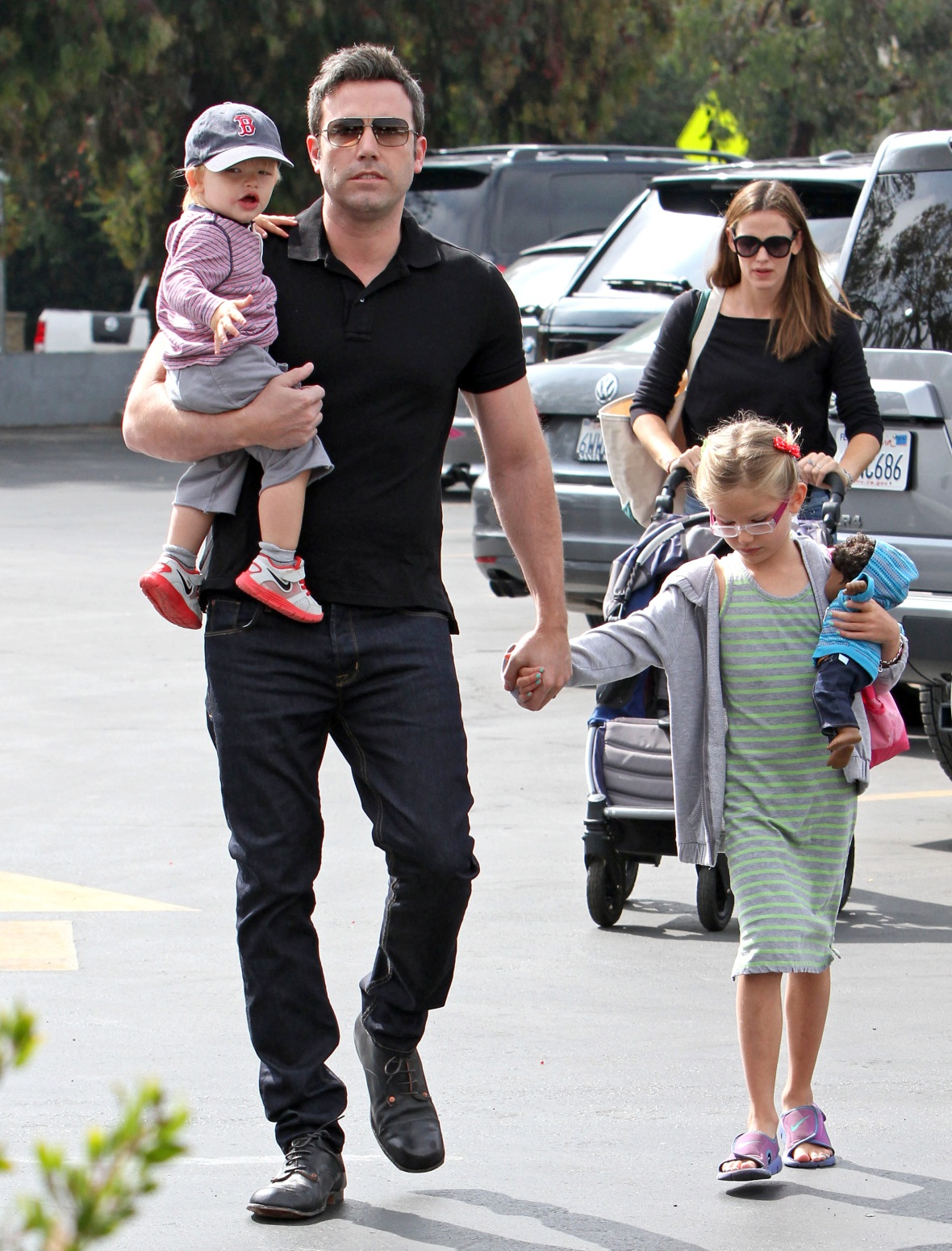 jennifer garner, ben affleck, and kids in 2013 getty