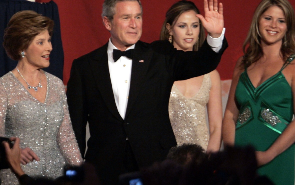 george w. bush, laura bush, jenna and barbara bush 2005 getty