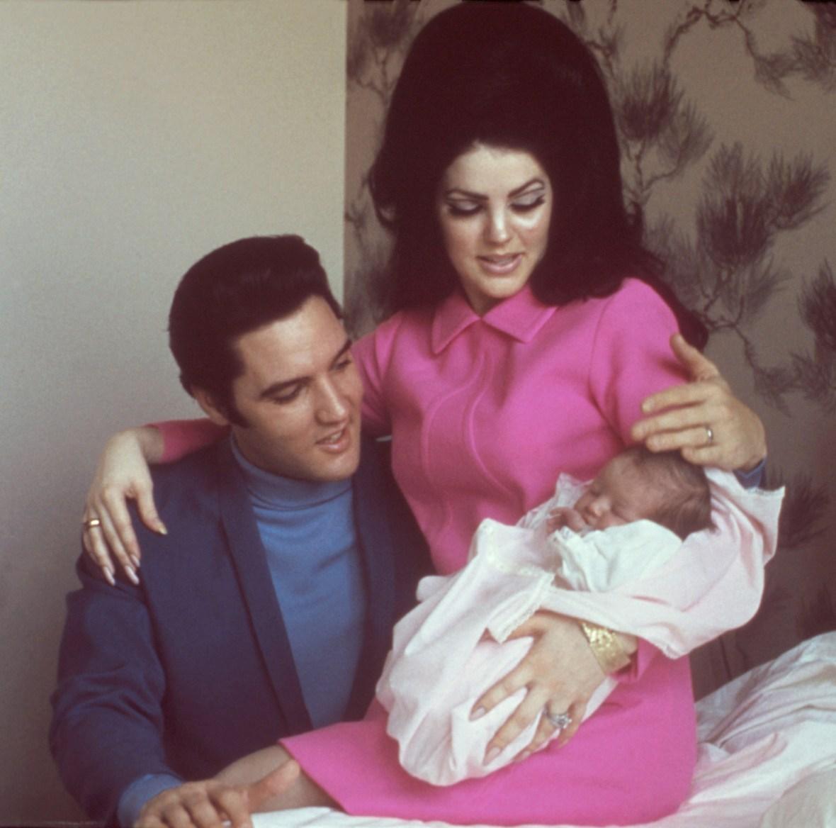 priscilla presley, elvis presley, lisa marie in 1968 getty