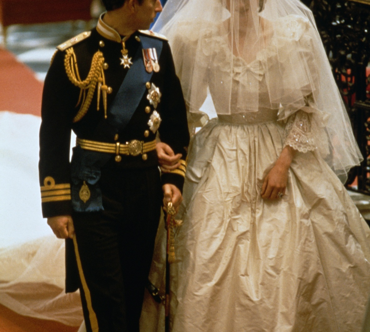 princess diana's wedding dress getty images
