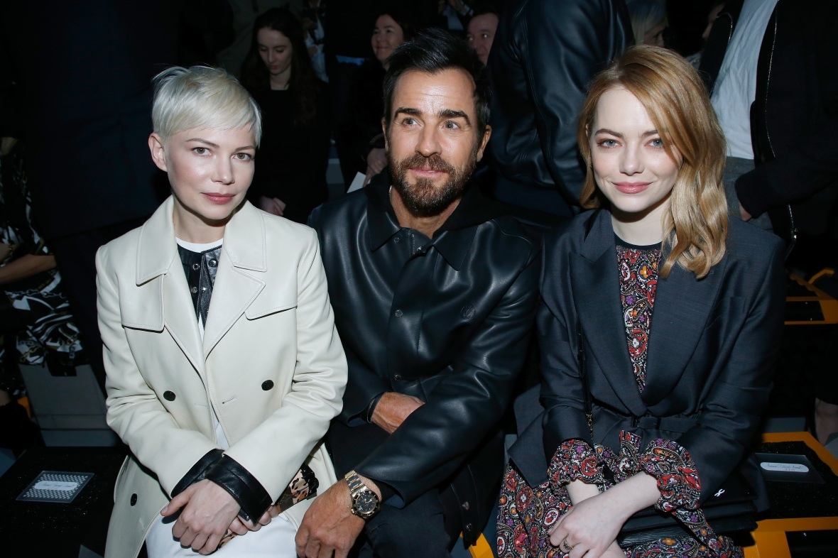 justin theroux emma stone front row louis vuitton fw 2018