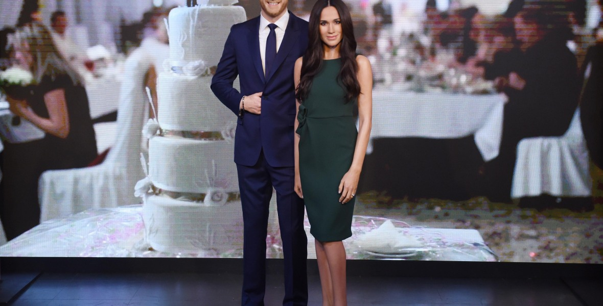 meghan markle prince harry wax figures getty images