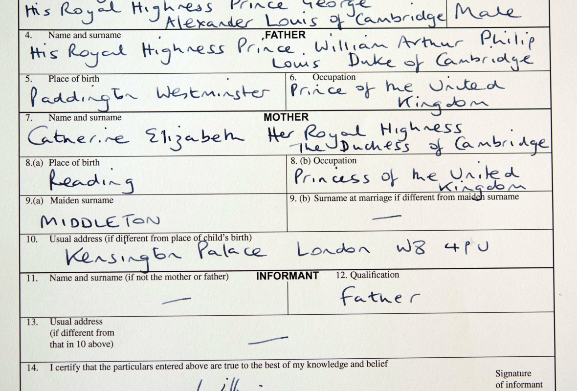 prince george birth certificate getty images