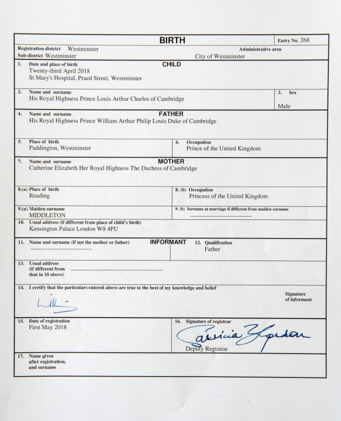 prince louis birth certificate getty images