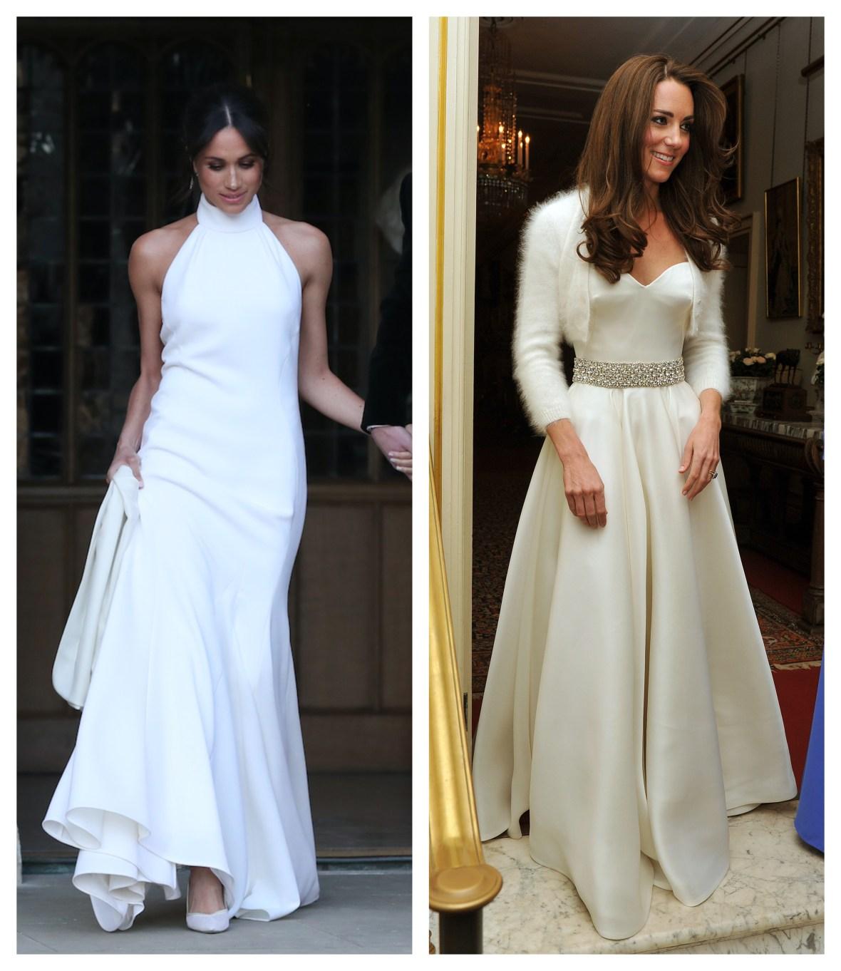 meghan markle kate middleton reception dresses comparison