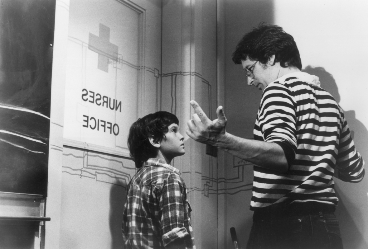 steven spielberg and henry thomas on e.t getty images