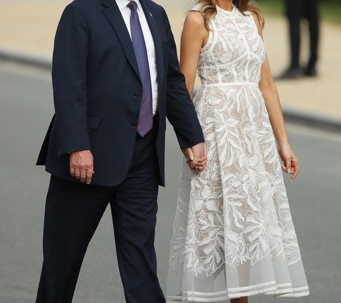 melania trump sheer white dress