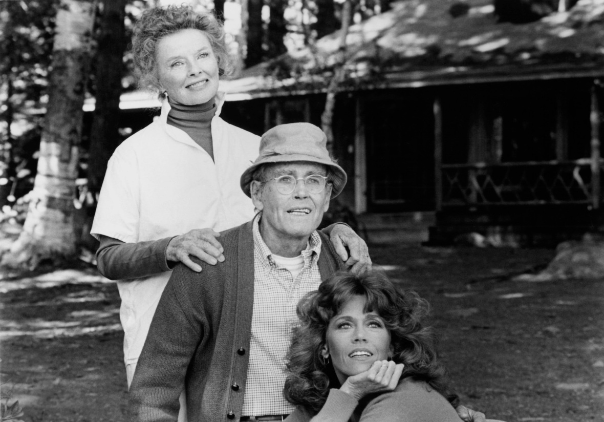 jane with henry and katharine hepburn in 'on golden pond.' (photo credit: getty images)