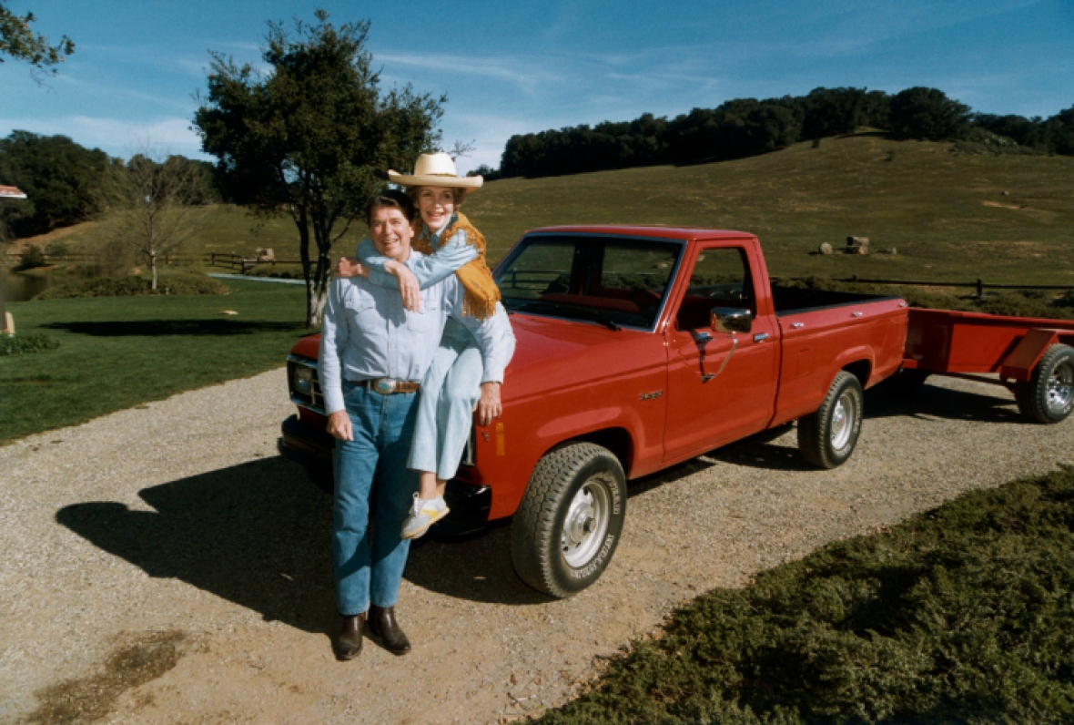 ronald and his wife, nancy at their ranch. (photo credit: getty images)