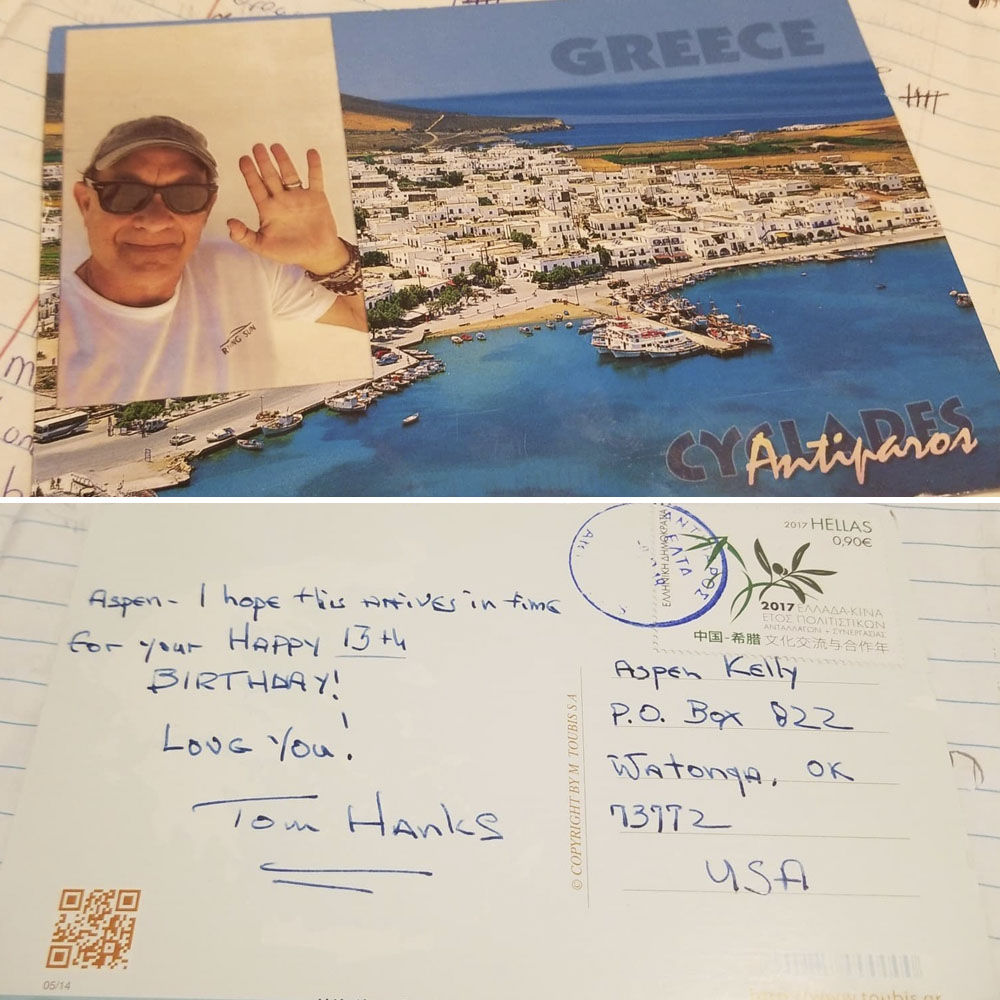 aspen kelly tom hanks postcard