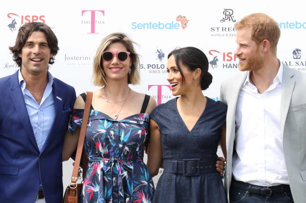 nacho, delfina, meghan, and harry. (photo credit: getty images)