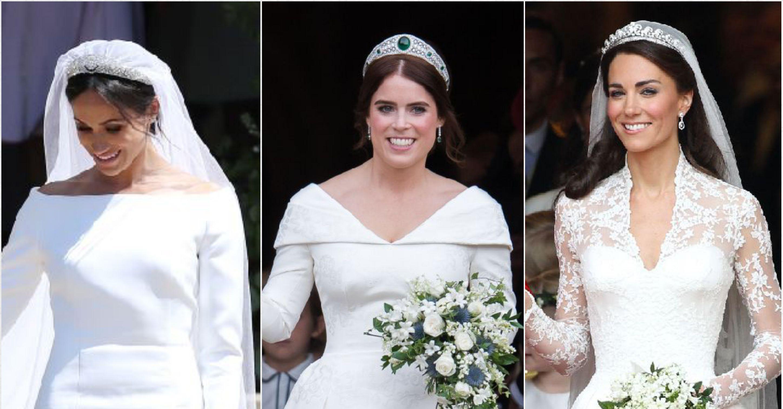 see princess eugenie s wedding dress vs kate middleton and meghan markle s wedding dress vs kate middleton