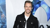 derek-hough-aquaman-premiere-black-jacket-white-shirt-brown-pants