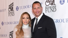 jennifer-lopez-alex-rodriguez-white-sparkle-dress-black-tux-great-sports-legends-dinner