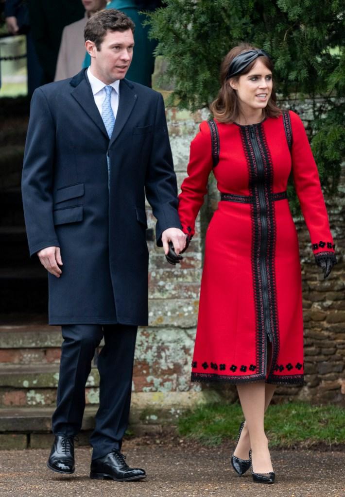 princess-eugenie-jack-brooksbank-christmas-2018-red-dress