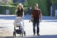 Josh Brolin and wife Kathryn Boyd take their two-month-old baby girl, Westyln, for a stroll in Malibu.