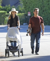 Josh Brolin and wife Kathryn Boyd take their two-month-old baby girl, Westyln, for a stroll in Malibu.