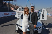 Justin Theroux And Elizabeth Hurley Attend The ABB FIA Formula E 2019 Marrakesh E-Prix
