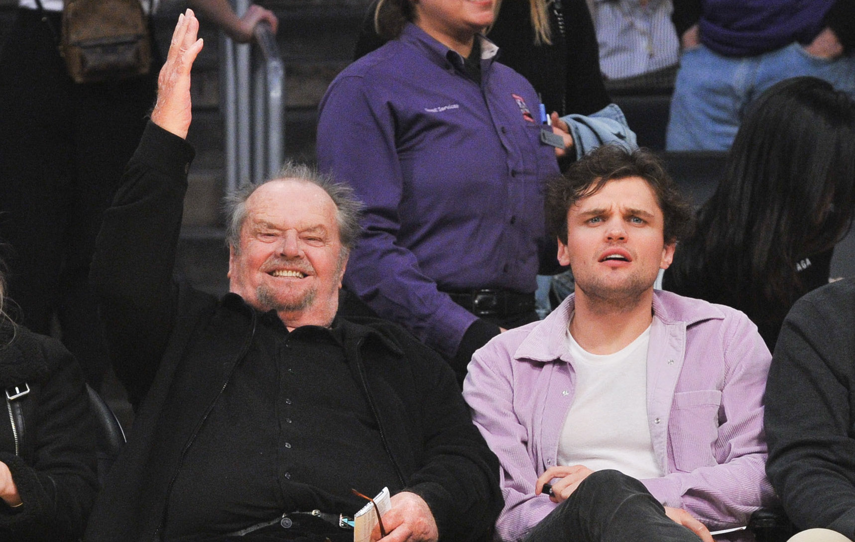 Jack Nicholson Makes Rare Public Appearance With Son Ray At Game Ray nicholson maakt, vanuit zijn studio nicholson illustraties, illustraties op maat! https www closerweekly com posts jack nicholson makes rare public appearance with son ray at game