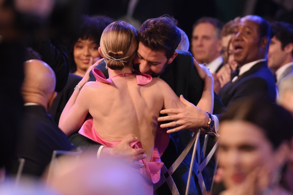 Emily Blunt wins Outstanding Performance by a Female Actor in a Supporting Role for 'A Quiet Place' with John Krasinski during the 25th Annual Screen ActorsGuild Awards at The Shrine Auditorium