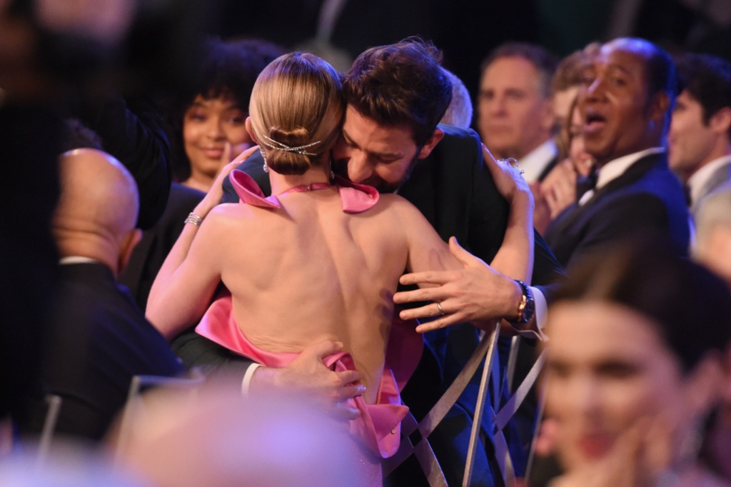 Emily Blunt wins Outstanding Performance by a Female Actor in a Supporting Role for 'A Quiet Place' with John Krasinski during the 25th Annual Screen Actors Guild Awards at The Shrine Auditorium