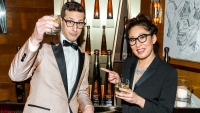 Sandra Oh Andy Samberg Tequila Don Julio 1942 at their private Golden Globe after-party