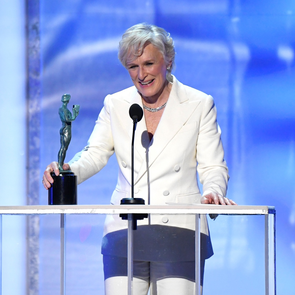 """Glenn Close accepts Outstanding Performance by a Female Actor in a Leading Role for """"The Wife"""" onstage during the 25th Annual Screen ActorsGuild Awards"""