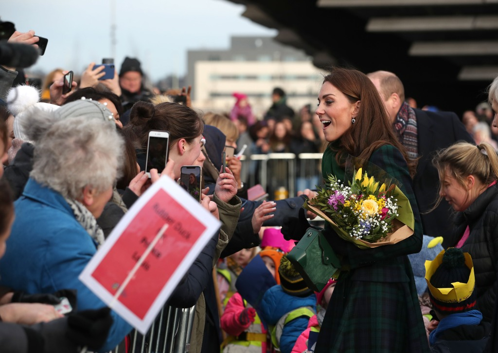 Britain's Catherine, Duchess of Cambridge greets wellwishers