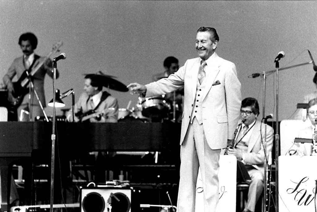 Bandleader Lawrence Welk performing, Chicago, Illinois,