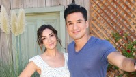 """Actress Courtney Lopez (L) and TV Personality Mario Lopez (R) visit Hallmark's """"Home"""