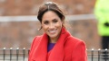 meghan-markle-Merseyside-visit-purple-dress-red-coat-red-heels