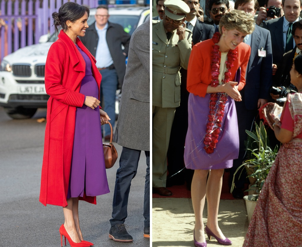 meghan-markle-princess-diana-red-coat-purple-dress