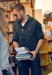 Ryan Gosling takes his daughter, Esmeralda book shopping in Studio City.