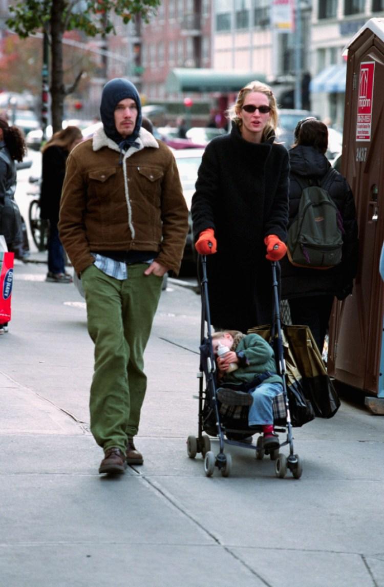 Uma Thurman Strolling with Family