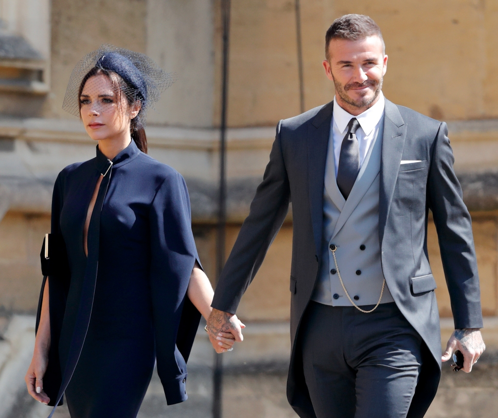 Victoria Beckham and David Beckham attend the wedding of Prince Harry to Ms Meghan Markle