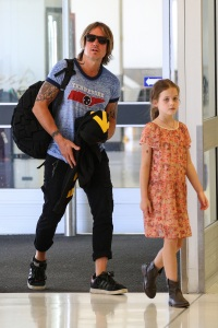 Keith Urban, Faith Margaret Kidman and Sunday Rose pictured leaving Sydney.