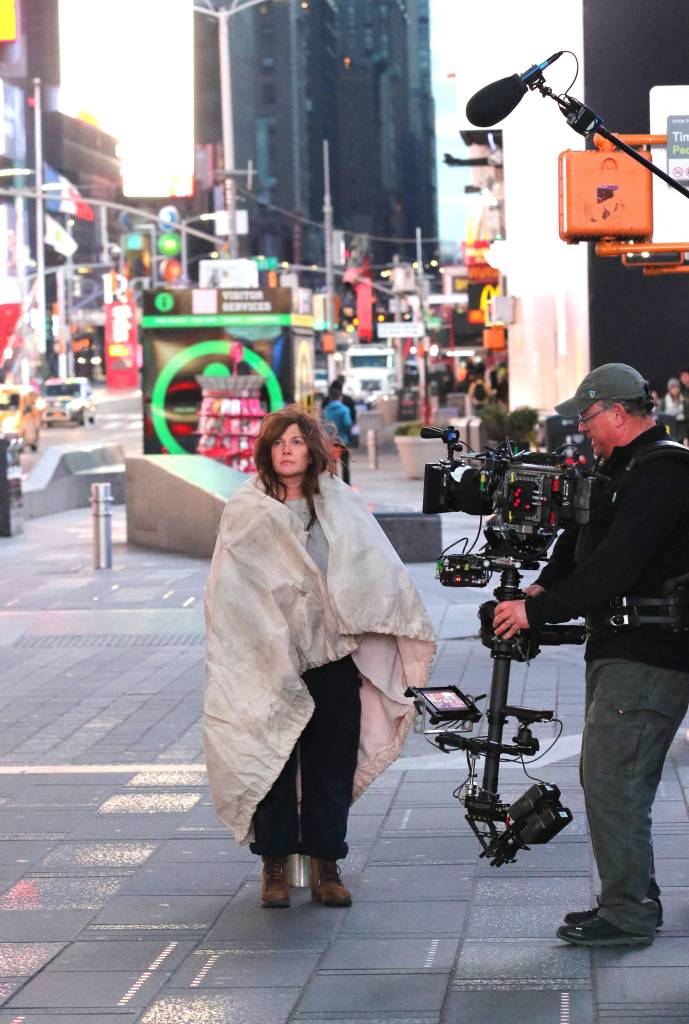 """Drew Barrymore playing dual roles for her upcoming movie """"THE STAND-IN"""" filming in New York City."""