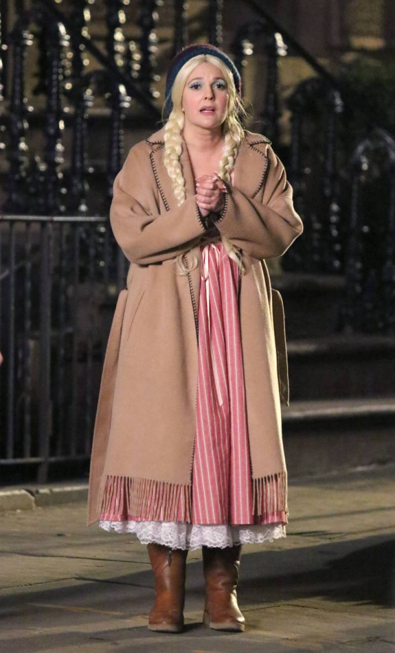 "Drew Barrymore playing dual roles for her upcoming movie ""THE STAND-IN"" filming in New York City."