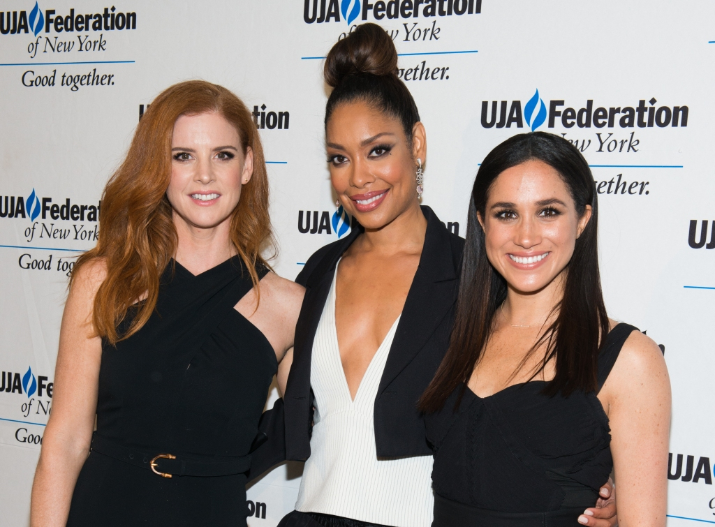 Sarah Rafferty, Gina Torres and Meghan Markle attend the UJA-Federation New York's Entertainment Division Signature Gala