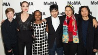 Shiloh Nouvel Jolie-Pitt, Angelina Jolie, Zahara Marley Jolie-Pitt, Maddox Chivan Jolie-Pitt, Prune Nourry and Pax Thien Jolie-Pitt attend the Opening Night of MoMA's Doc Fortnight Premiere of Prune Nourry's Serendipity